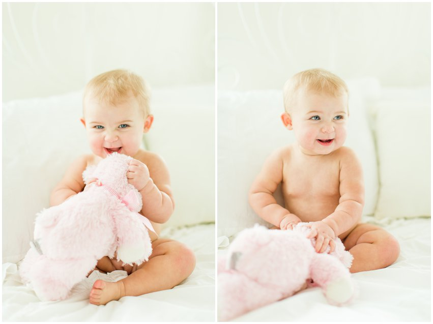 Northern Virginia Baby Photographer Lifestyle Portraits Girl Pearls Pink Tutu Tulle Bow