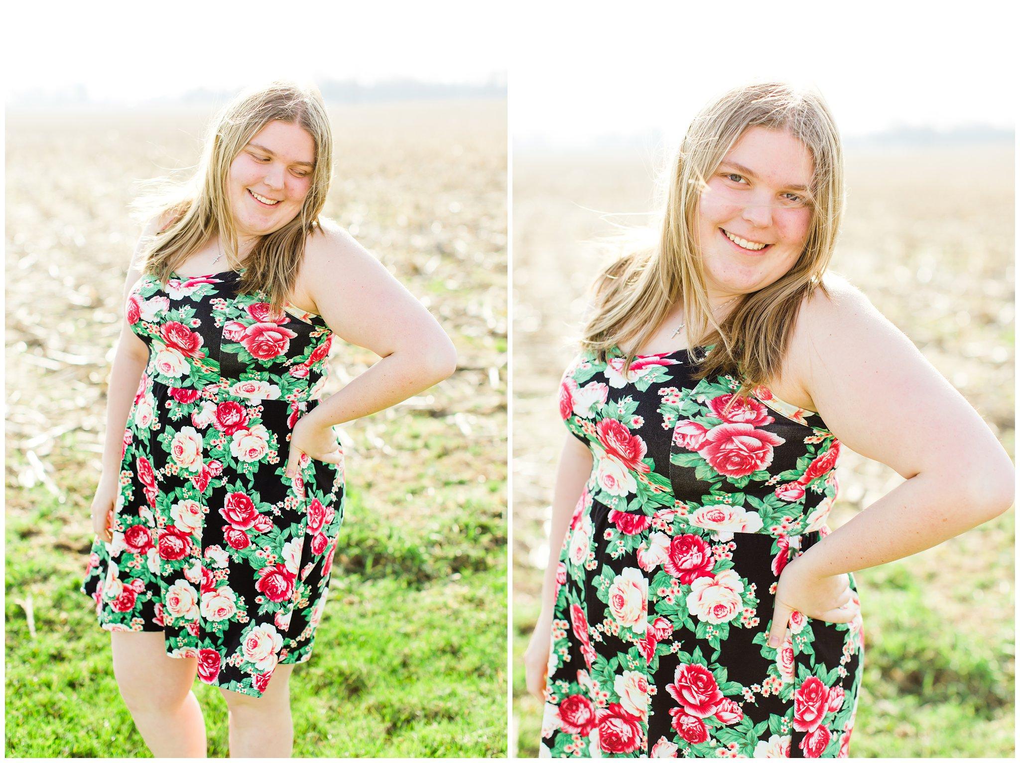 Indiana Portrait Photographer Mishawaka Amish Countryside Field Sundress Easter Sunday