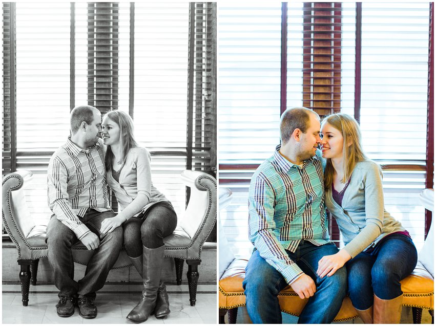 Richmond Engagement Session Virginia Photographer Train Station Main Street Downtown Engaged Rainy Day Engagement Peacoat Boots