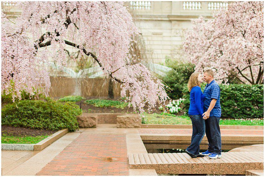 Virginia Photographer Washington DC Cherry Blossom Engagement Session Memorials National Mall Spring Engaged Couple Love