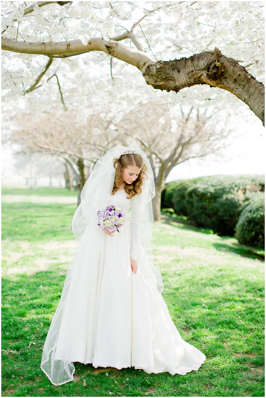 Cherry Blossom Bridal Portraits Bride Vintage Wedding Gown Dress Spring Military Base DC Tidal Basin Purple and Ivory Bouquet
