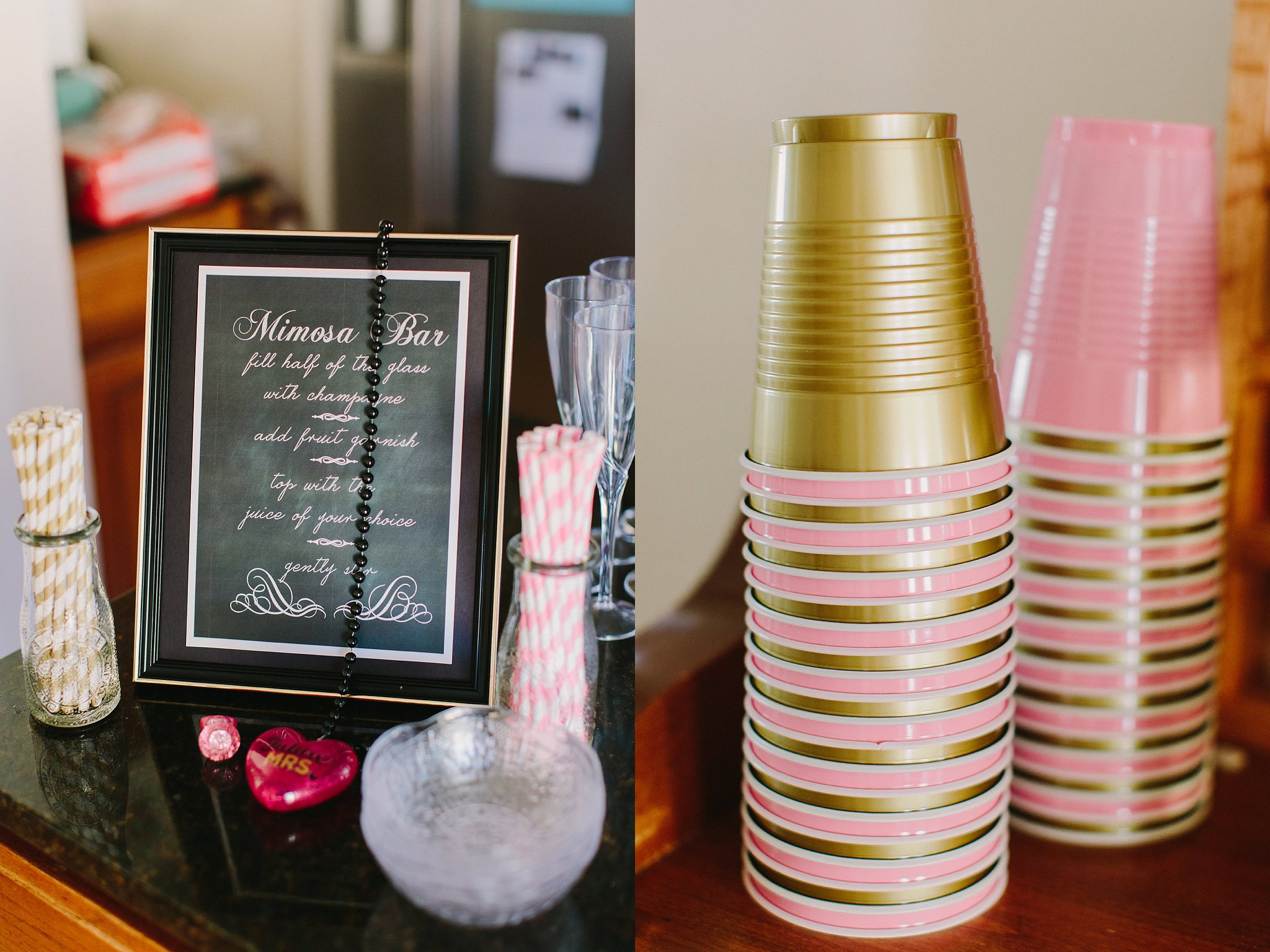 Pink and gold bridal shower brunch photos